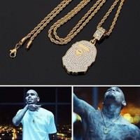 DCCKNY1Q Boys & Men BAPE  Hip-Hop Rhinestone Necklace