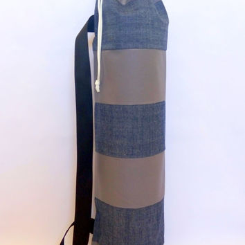 Gray and Denim Quilted Yoga / Pilayes Mat Bag.....100 % Cotton