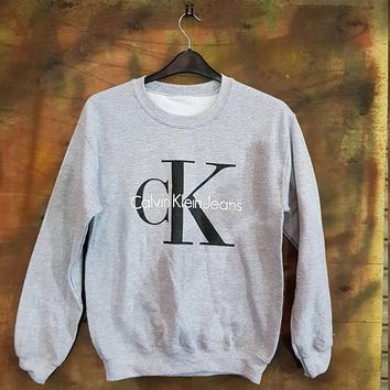 Calvin klein Jeans Women Men Fashion Long Sleeve Pullover Sweatshirt Top Sweater Grey