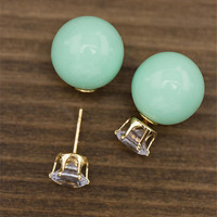 Double Sided Earrings / Stud and Mint Sphere