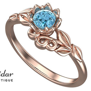 Flower Engagement Ring,Unique Engagement Ring,Solitaire Engagement Ring,Leaves,Aquamarine Engagement Ring,lotus,floral,swirl,Rose gold Ring