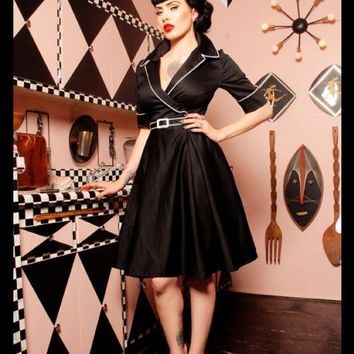 """Haunted Housewife"" Dress in Black with White from Deadly Dames - Dresses - Clothing 