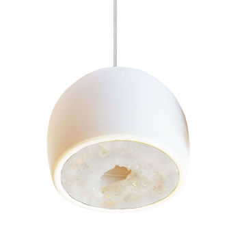 LED Geode Gem & Porcelain Mini Matte White Clay Pendant Light