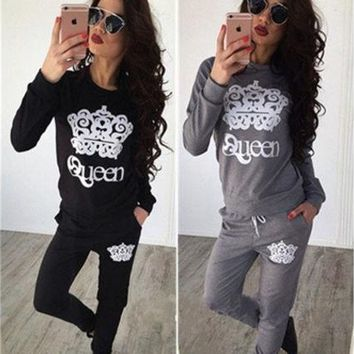 DCCKIX3 Fashion Women's Two-pices Casual Sport Tops Sweatshirt Track Pants Sweat Suits Tracksuit [9221949188]