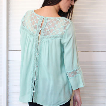 Button Back Lace Trim Blouse {Sage}
