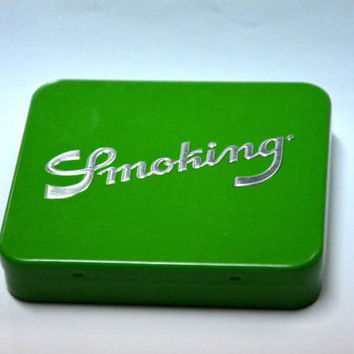 Cigarette Case, Green, Tin Cigarette Case, Cigarette Holder, Tobacco Case, Tin Tobacco Case, Gift idea, Green Case