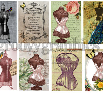 Vintage Corsets, digital collage sheet, 2.5 x 3.5 inch, gift tags, scrapbook, vintage paper, printable download,  BUY 3 get 1 FREE