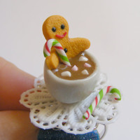 Gingerbread Man and Hot Chocolate Miniature Food Ring-Miniature Food Jewellery,Handmade Ring,Mini Food Jewelry,Christmas Ring
