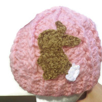Crochet hat, Chunky crochet beanie with Snow bunny, ready to ship!