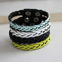 Leathered Braid Unisex Bracelet Blu.. on Luulla