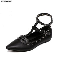 TINGHON Fashion Women's Pointed Toe Buckle Sandals Metal Rivet Studded Comfy Flats Thin Shoes Women Flat  Lady Fashion Shoes