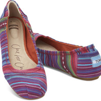 MIXED WOVEN STRIPES WOMEN'S BALLET FLATS