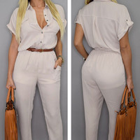 White Button-up Notched Jumpsuit