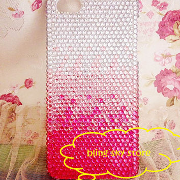 Handmade Bling sparkle diamond crystal Rhinestone iPhone 4 4s 5 5s 5c 6 6 plus case samsung galaxy s5 note 2 note 3 case  pink shade fade