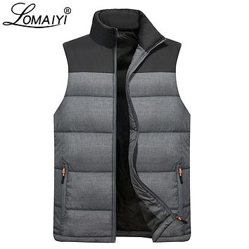 LOMAIYI Men's Down Vest Waistcoat Men Winter Sleeveless Jacket Male Warm Thick Coats Mens Cotton-Padded Gilet Homme Vests BM254