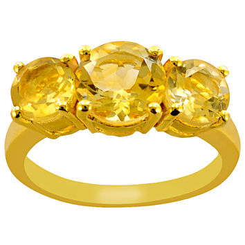 2.1 CTTW Genuine Citrine 10K Yellow Gold Plated Beautiful and Stylish Ring in Sterling Silver