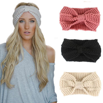 Norvin 20colors Fashion Women Headband Elastic Turban Knitti Wool Headband Ethnic Wide Stretch Girl Hair Accessories Winter 2016