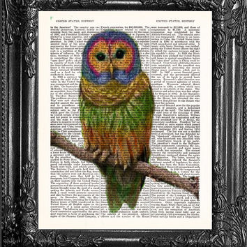 Gift Poster Owl Art-Owl Print-Rainbow Owl Decor-Home Dorm Wall Decor-Dictionary Print Wall Decor-Antique Book Page Art-Print On Dictionary