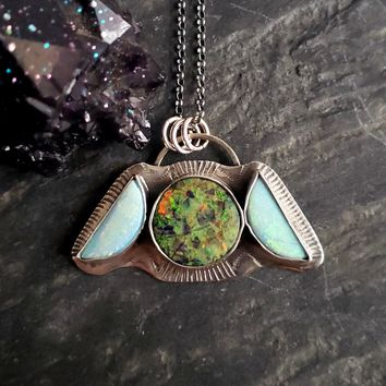 Cultured Opal Moon Phase Celestial Pendant in Sterling Silver