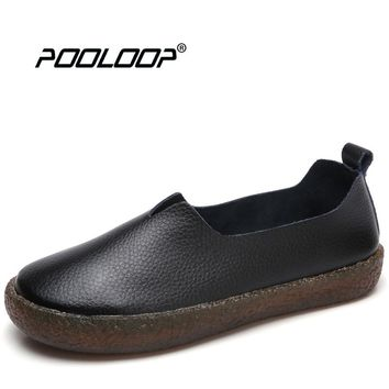 POOLOOP Big Size Women Casual Ballet Flats Slip On Soft Leather Shoes Ladies Fashion Designer Shoes Cute Dress Loafers Wide Shoe