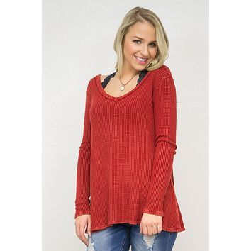 Thermal V-Neckline Long Sleeve Top