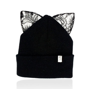Milk & Soda Pernille Cat Ear Beanie in Black
