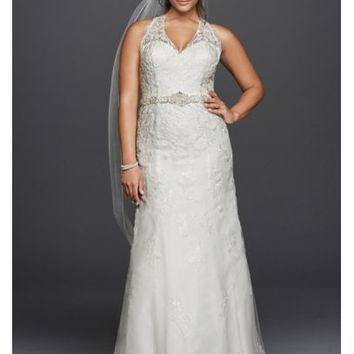 Jewel Lace Plus Size Halter Wedding Dress - Davids Bridal
