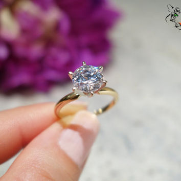 Size 7:  2 Carat, 14k Yellow & White Gold, 6 Prong Solitaire Engagement Ring, Two Toned, Man Made Diamond Simulant, Wedding Ring, Bridal