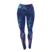 "Robin Dickinson ""Weeping"" Purple Tree Yoga Leggings"