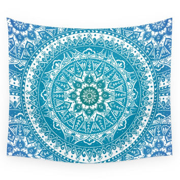 Society6 Aquamarine Mandala Pattern Wall Tapestry