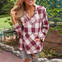 Plaid Print Drawstring Side-Slit Hooded Sweatshirt