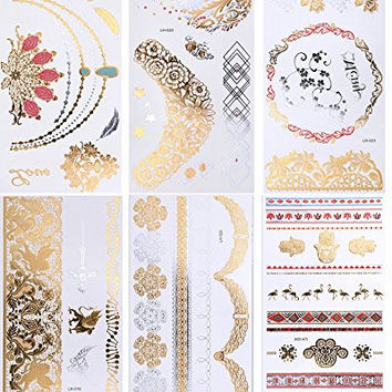 TAFLY Flower Necklace Elephant Multi Design Arm Metallic Gold Silver Temporary Bling Tattoos 6 Sheets