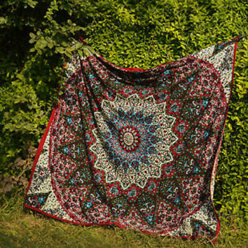 Indian Psychedelic Multi Color Bohemian Wall Tapestry Boho Room decor bedding