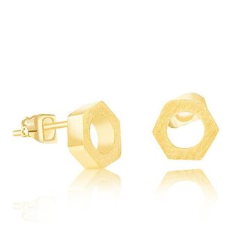 Simple Small Hex Nut Earrings For Unique Personality Biker Jewelry Stainless Steel Geometry Hexagon