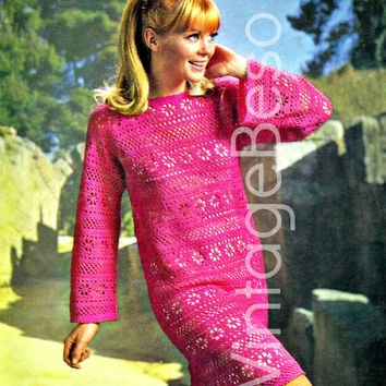 "Lacy Flower Panel Dress 1960s Vintage CROCHET Pattern Ladies Sexy Above Knee Bell Sleeve Mod Shift Dress Bust 34-38"" in 3-ply Instant PDF"