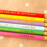 You Can Call Me Queen Bee Pencils, Set of 6 Pencils, Pencils, Boss Gift, Custom Pencils, Personalized Pencil, Girl Boss, Stocking Stuffer