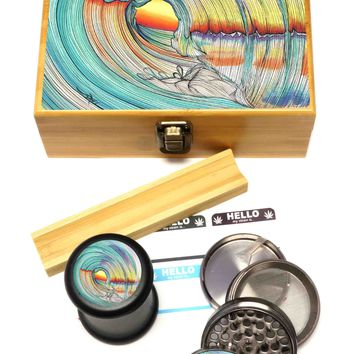 """BRAND NEW ITEM! - Lifeline - Stash Box Combo - VERY LARGE SIZE - Includes 2.5"""" Four Part Herb Grinder, UV Stash Jar and Rolling Tray"""