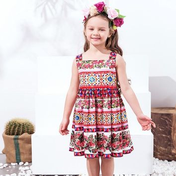 Girls Dress with Rose Pattern 2017 Shoulderless Girls Costume for Kids Clothes Sleeveless Toddler Party Dresses Vestido Infantil