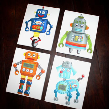 Set of 4 Robot Stretched CANVASES Boys Bedroom Stretched Canvases Kids Playroom Baby Nursery CANVAS Bedroom Wall Art Decor 4CS017