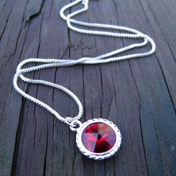 Sterling silver necklace Christmas red ruby by TheRottenRooster