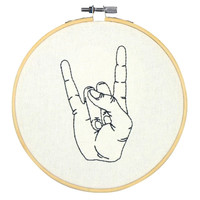 "6.75""x0.38"" Rock Hand Embroidery Hoop Decorative Wall Sculpture Off-White"