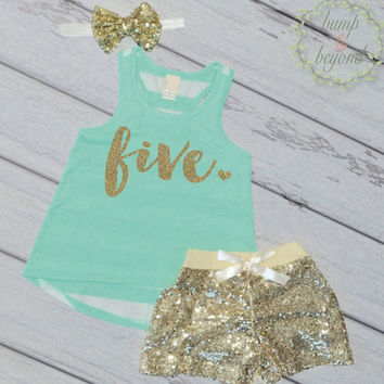 Trendy Kids Clothes 5 Year Old Birthday Shirt Girl Fifth Birthday Shirt 5 Birthday Shirt Girl 5th Birthday Outfit Girl Green Tank Top 102