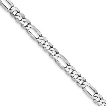4mm, 14k White Gold, Flat Figaro Chain Necklace