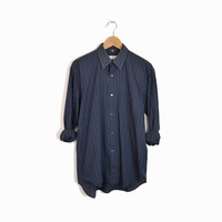 Vintage Courreges Boyfriend Shirt in Pinstripe Navy - men's m