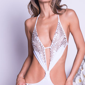BRIDGET MONOKINI IN WHITE WITH GOLD