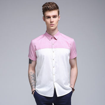 Stylish Casual Men Floral Shirt Cotton Summer Short Sleeve Blouse [6541345667]