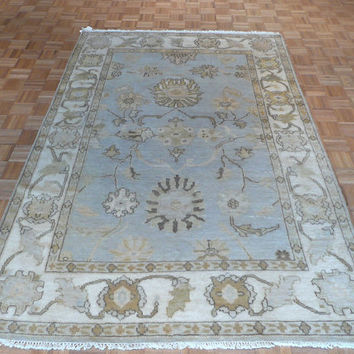 6'1 x 9'2 Hand Knotted Sky Blue Oushak Oriental Rug Vegetable Dyes