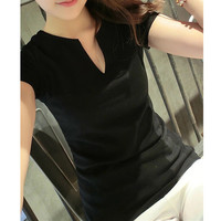 Small V-Neck Short Sleeves Stretch Fitted T-Shirt