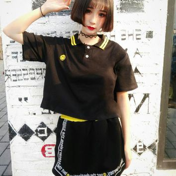 Women Summer T Shirt Harajuku Cartoon Tops Tee Female Preppy Tshirt Ulzzang Kawaii Striped T-shirt Dropshipping HT8911