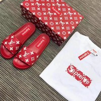 Best Online Sale Louis Vuitton LV X Supreme Flip Flop Sandal Men Women Red/White Slipper
